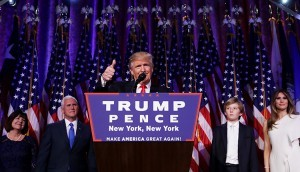 Republican President-Elect Donald Trump delivers his acceptance speech at the New York Hilton Midtown in the early morning hours on Wednesday.